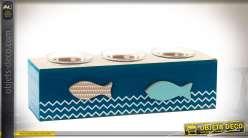 Bougeoir de table pour trois bougies, en bois et verre, style bord de mer 25,5 cm