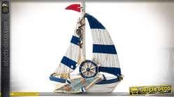 Miniature de bateau de pêcheur en résine et tissu coloris bleu et blanc 16 cm