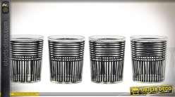 Série de 4 verres bougeoirs effets rayures noires Ø 7 cm