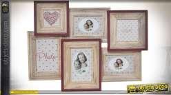 Pêle-mêle pour six photos en bois style romantique et rétro effet vieilli 50,5 cm
