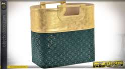 Porte-revue en forme de sac chic vert de chrome et doré satiné brillant