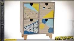Boîte à bijoux en forme de petite commode à 4 tiroirs avec motifs graphiques