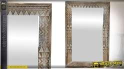 Miroir original rectangulaire, encadrement bois à motifs et frises géométriques