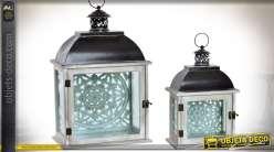 Duo de lanterne en bois, métal et verre, style rétro avec panneaux sculptés 46 cm
