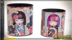 Duo de corbeilles à papier en bois, cylindriques à motifs poupées japonaises