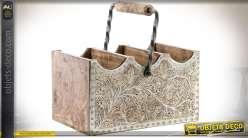 Panier de rangement à 3 niches en bois avec poignée et habillage métal gravé