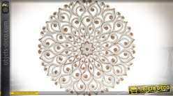 Fresque murale en bois de forme circulaire à motif roue de paon Ø 45 cm