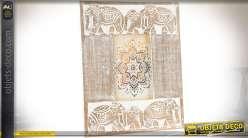 Superbe cadre photo en bois sculpté et vieilli : motifs éléphants orientaux