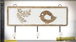 Panneau mural en bois vieilli et blanchi avec motifs enfantins et 3 patères