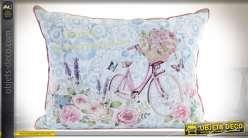 Coussin en lin de style rétro et romantique illustration fleur et bicyclette