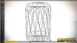 Panier range-couverts en métal chromé, forme cylindrique Ø 11 cm