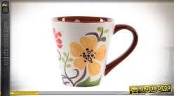 Set de 6 tasses 380 cl en grès brillante à motifs de fleur colorées