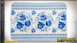 Tapis de salle de bain, en polyester, 60 x 40 cm à motifs de fleurs bleues