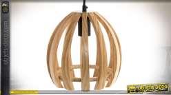 Suspension Art Déco en bois naturel à montants convexes Ø 22 cm