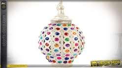 Lampe en métal blanc nacré de style oriental avec cabochons multicolores 42 cm