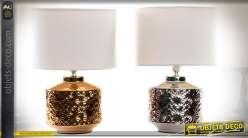 Lampes de table en céramique finition effet métal doré et métal argenté 34 cm