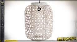 Suspension électrifiée de style exotique en bambou finition naturelle Ø 30 cm