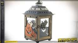 Lanterne rétro en bois et métal ornementée sur le thème Halloween 36 cm