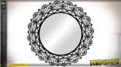Grand miroir rond luxe art d co for Miroir encadrement metal