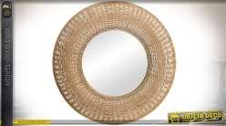 Grand miroir rond en rotin naturel ajouré style exotique Ø 76 cm