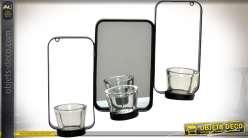 Miroir déco murale en métal avec glace centrale et 3 porte-bougies en verre 36 cm