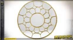 Grand miroir rond 80 cm r tro et industriel bois et m tal for Miroir metal vieilli