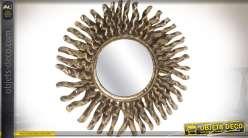 miroir mural oriental m tal argent motifs en forme de fleur. Black Bedroom Furniture Sets. Home Design Ideas