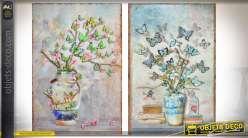 Série de deux tableaux muraux en métal et en relief : plantes à papillons 80 cm