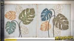 Jeu de 2 décorations murales en bois et métal : motifs grandes feuilles 60 x 60 cm