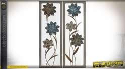Duo de tableaux encadrés à à motifs de grandes fleurs en métal et en relief 90 cm
