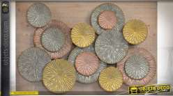 Décoration murale métal style abstrait sur panneau bois naturel et vieilli 105 cm