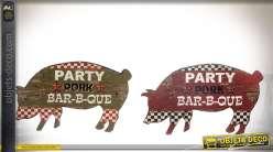 Set de décorations murales en bois silhouettes de cochons thème barbecue