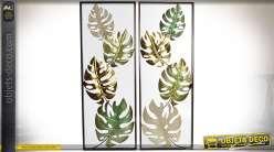 Duo de grandes décorations murales : cadres avec feuilles de caoutchouc 90 cm