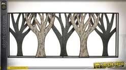 Longue décoration murale sous-bois en métal effet oxydé et galva 100 cm