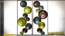 Duo de déco murales en métal à motifs abstraits de cercles et de spirales 90 cm