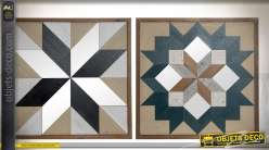 Duo de décorations murales encadrées à motifs géométriques et miroirs 58 x 58 cm