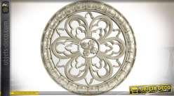 Décoration murale en forme de miroir circulaire ornementé et argenté Ø 34 cm