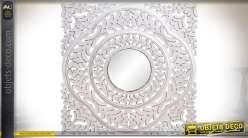 Panneau de décoration murale en bois sculpté patine blanche avec miroir central
