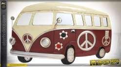 Déco murale en métal en relief Volkswagen Combi Flower Power 80 cm