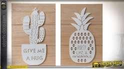 Duo de décorations murales à motifs d'ananas et cactus avec éclairage LED