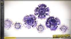 Décoration murales fleurs en métal et en relief teintes améthyste et lilas 96 cm