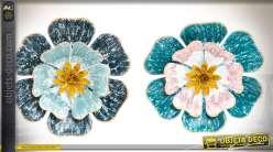 Duo de décorations murales, fleurs en métal coloris turquoise et or Ø 40 cm