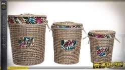 Série de trois paniers à linge cylindriques gigognes en osier naturel Ø 46 cm