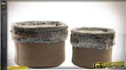 Duo de corbeilles en tissu marron chamois et fausse fourrure grise Ø 32,5 cm