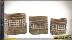 Série de trois corbeilles en osier et jute, belles finitions à motifs en quadrillages