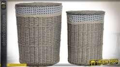 Duo de paniers à linge en osier tressé grisé, avec couvercles et doublures tissu