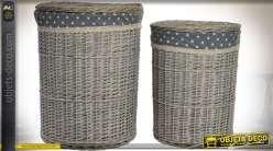 Série de 2 paniers à linge en osier gris vieilli avec couvercles Ø 44 cm