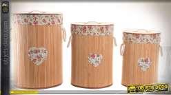 Série de 3 paniers à linge cylindriques en bambou et tissu à motifs fleuris 54 cm