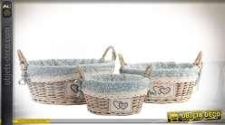 Série de 3 corbeilles en osier grisé clair doublures tissu gris à fleurs Ø 38 cm