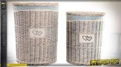 Duo de paniers à linge en osier gris blanchi, forme cylindrique avec doublure tissu